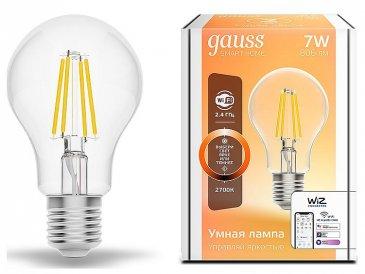 Лампа светодиодная диммируемая филаментная Gauss E27 7W 2700K прозрачная 1200112.